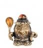 AM-1005 Фигурка  Колокольчик-Домовой с подковой   латунь, янтарь
