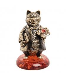 AM-1008 Фигурка  Колокольчик-Кот с цветком   латунь, янтарь