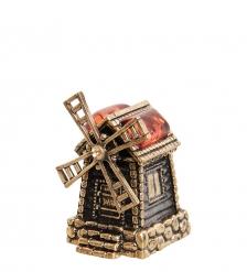 AM-1017 Фигурка  Колокольчик-Мельница   латунь, янтарь