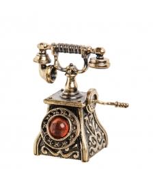 AM-1021 Фигурка «Колокольчик-Телефон ретро»  латунь, янтарь