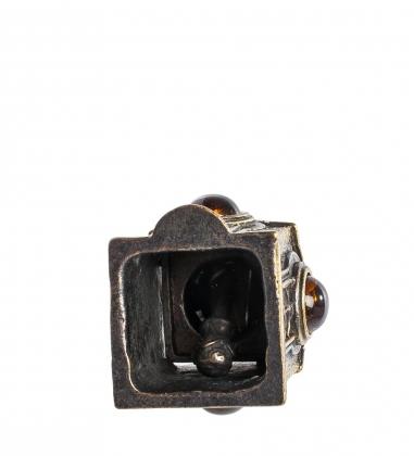 AM-1023 Фигурка  Колокольчик-Часовня   латунь, янтарь