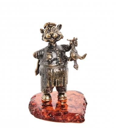 AM-1034 Фигурка  Кот Повар   латунь, янтарь