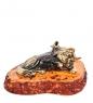 AM-1038 Фигурка  Кот с любовью-2   латунь, янтарь