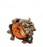 AM-1040 Фигурка  Кот с сосиской   латунь, янтарь