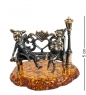 AM-1052 Фигурка  Коты в ожидании чуда   латунь, янтарь