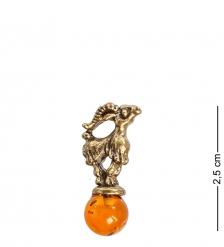 AM-1057 Фигурка кошельковая  Козочка   латунь, янтарь