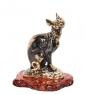 AM-1071 Фигурка  Кошка Корниш-рекс   латунь, янтарь