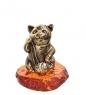 AM-1073 Фигурка  Кошка с нитками   латунь, янтарь