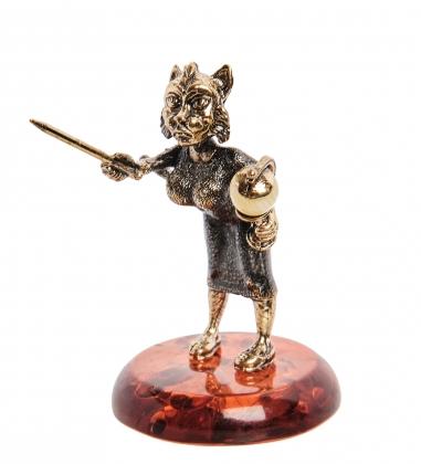 AM-1074 Фигурка  Кошка Учительница   латунь, янтарь