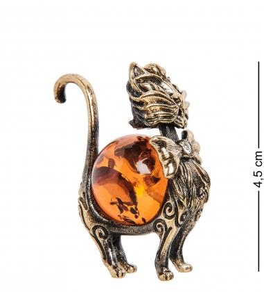 AM-1076 Фигурка  Кот гламурный   латунь, янтарь