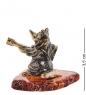 AM-1083 Фигурка  Лиса с балалайкой   латунь, янтарь