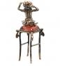 AM-1090 Фигурка  Лягушка на табуретке   латунь, янтарь