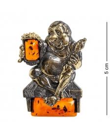 AM-1097 Магнит  Любитель пива   латунь, янтарь