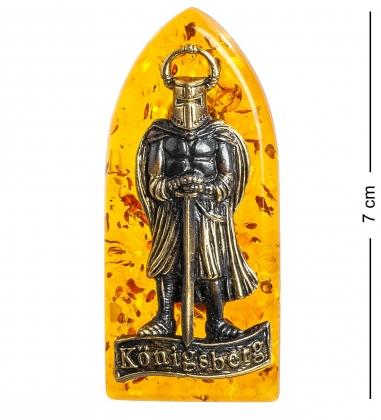 Первая фотография AM-1099 Магнит  Рыцарь   латунь, янтарь