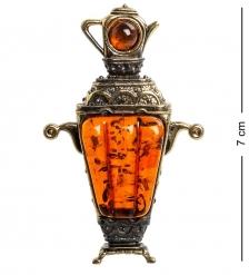 AM-1101 Магнит  Самовар Боярский   латунь, янтарь