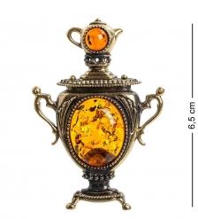 AM-1102 Магнит  Самовар   латунь, янтарь