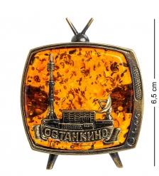 AM-1105 Магнит  Телевизор Останкино   латунь, янтарь