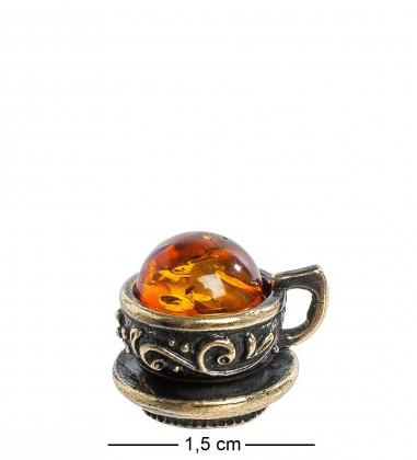 Первая фотография AM-1107 Магнит  Чашечка маленькая   латунь, янтарь