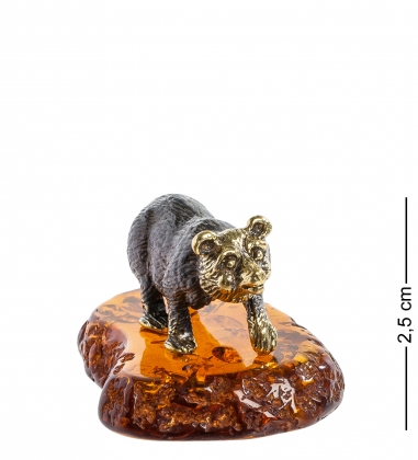 AM-1108 Фигурка  Медведь   латунь, янтарь