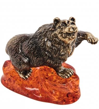 AM-1109 Фигурка  Медведь   латунь, янтарь