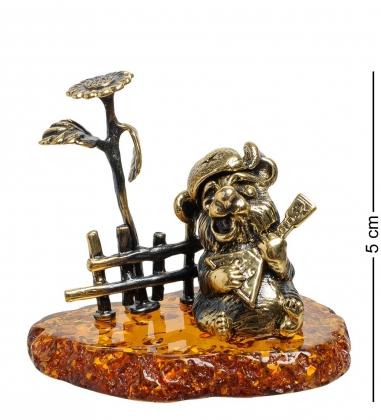 AM-1110 Фигурка Медведь с балалайкой у подсолнуха  латунь, янтарь