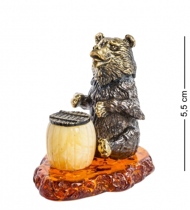 AM-1111 Фигурка  Медведь с бочонком   латунь, янтарь