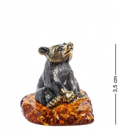 AM-1112 Фигурка  Медведь   латунь, янтарь