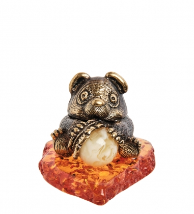 AM-1113 Фигурка  Мишка с горшочком   латунь, янтарь