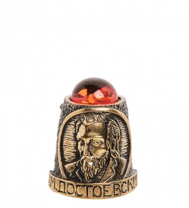 AM-1123 Наперсток Достоевский Ф.М.  латунь, янтарь