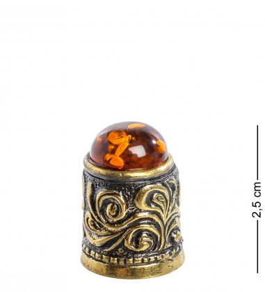 AM-1131 Наперсток  С кабошоном   латунь, янтарь