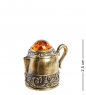 AM-1136 Наперсток  Чайник   латунь, янтарь