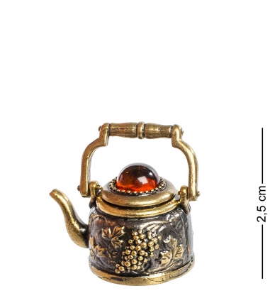AM-1137 Наперсток  Чайник с крышкой   латунь, янтарь