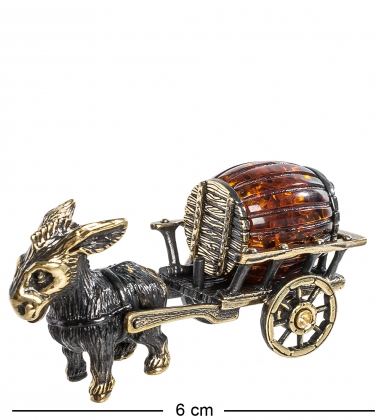 AM-1150 Фигурка  Ослик с повозкой   латунь, янтарь