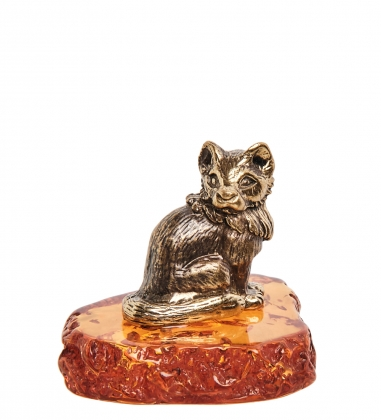 AM-1162 Фигурка  Песец   латунь, янтарь