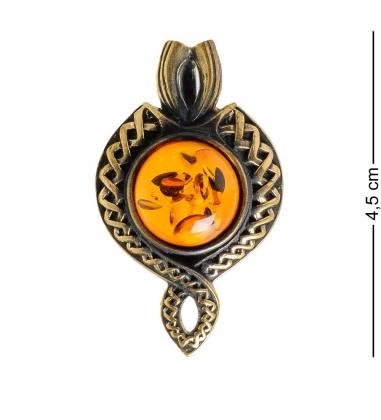 AM-1165 Подвеска  Арабский узор   латунь, янтарь
