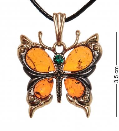 AM-1167 Подвеска  Бабочка   латунь, янтарь