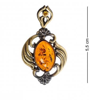 AM-1172 Подвеска  Виола   латунь, янтарь