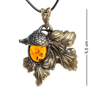 AM-1175 Подвеска  Желудь   латунь, янтарь