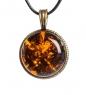 AM-1178 Подвеска  Знак зодиака-Близнецы   латунь, янтарь