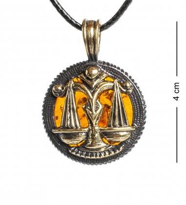 AM-1179 Подвеска  Знак зодиака-Весы   латунь, янтарь