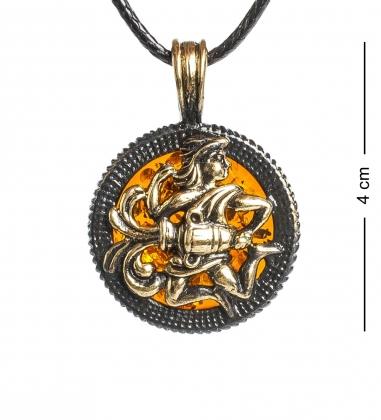 AM-1180 Подвеска  Знак зодиака-Водолей   латунь, янтарь