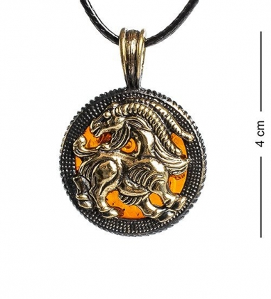 AM-1182 Подвеска  Знак зодиака-Козерог   латунь, янтарь