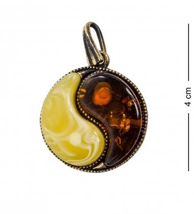 AM-1192 Подвеска  Инь-Ян   латунь, янтарь