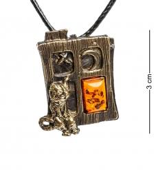 AM-1193 Подвеска «Кот в окошке»  латунь, янтарь