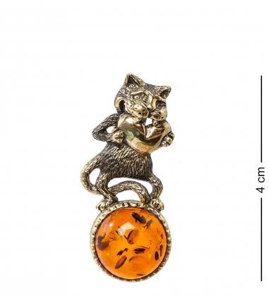AM-1195 Подвеска  Кот с сердцем   латунь, янтарь