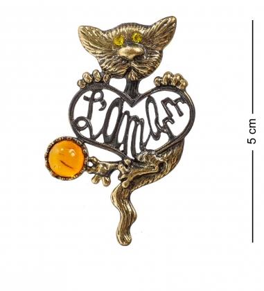 AM-1196 Подвеска  Кот Француз   латунь, янтарь