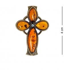 AM-1201 Подвеска «Крест Мальтийский»  латунь, янтарь
