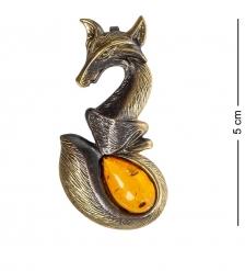 AM-1203 Подвеска «Лис»  латунь, янтарь