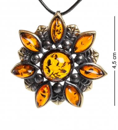 AM-1209 Подвеска  Подсолнух   латунь, янтарь