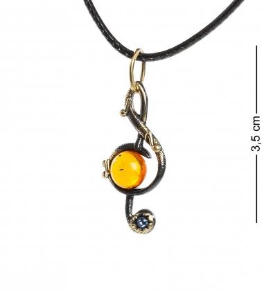 AM-1214 Подвеска  Скрипичный ключ   латунь, янтарь